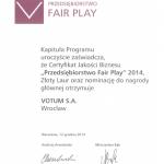 votum przedsiębiorstwem fair play dyplom