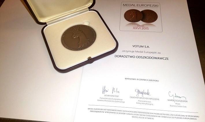 medal europejski dla votum sa