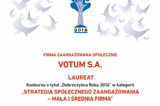 dyplom dobroczynca roku 2016