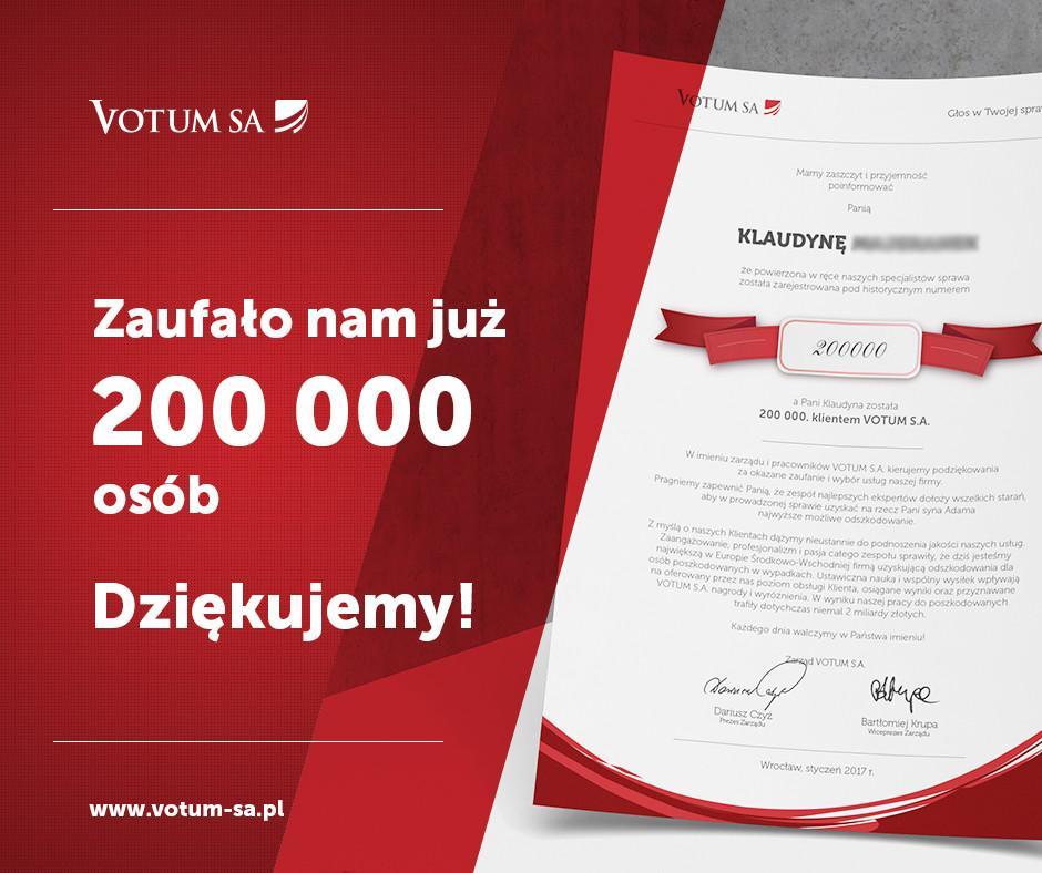 200 tys. klient VOTUM S.A.