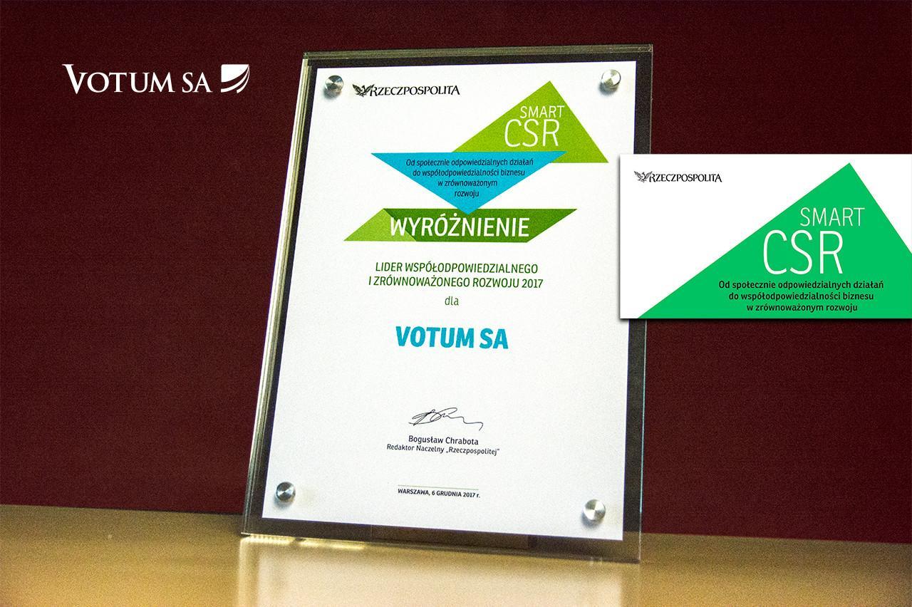 Wyróżnienie dla VOTUM S.A w konkursie Lider odpowiedzialnego i zrównoważonego rozwoju